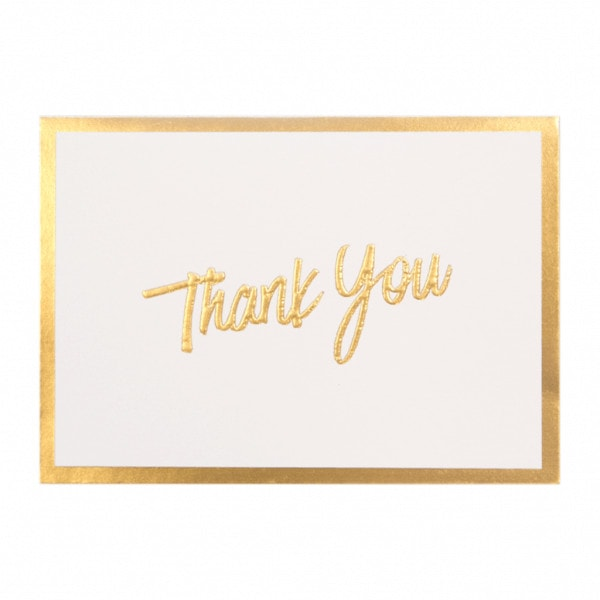 Gift card with thank you in gold writing and a gold border