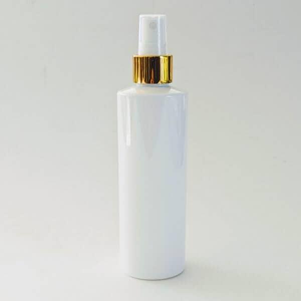 Cleanskin Room Mist White Plastic Bottle 250ml With Gold & White Mister