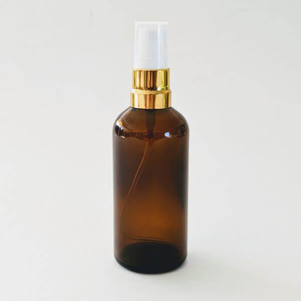 Cleanskin Body & Room Mist Amber Glass Bottle 100ml With Gold & White Mister