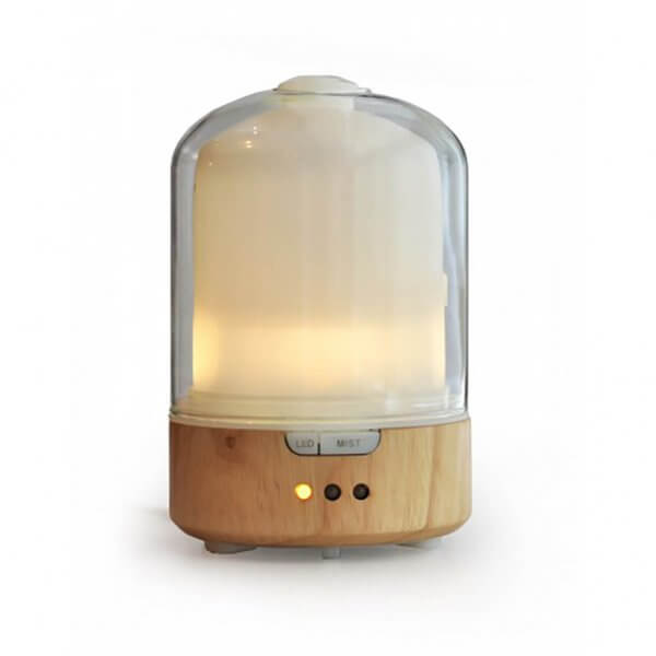 Glass dome ultrasonic aromatherapy diffuser with light bamboo base