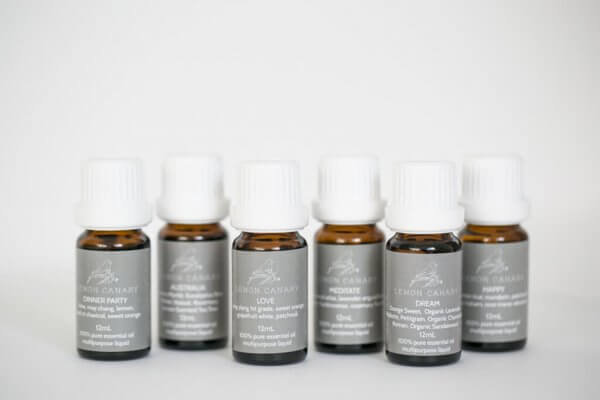 Organic essential oil set in 15ml amber glass bottles