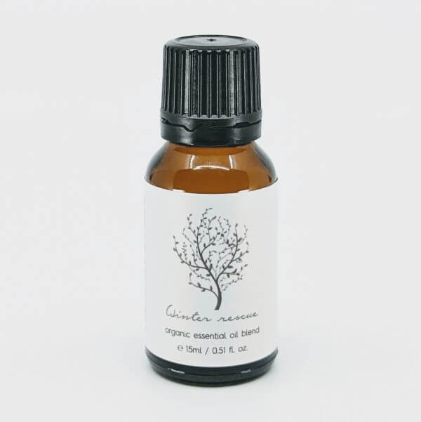 Winter Rescue Organic Essential Oil Blend 15ml Amber Bottle with Black Cap